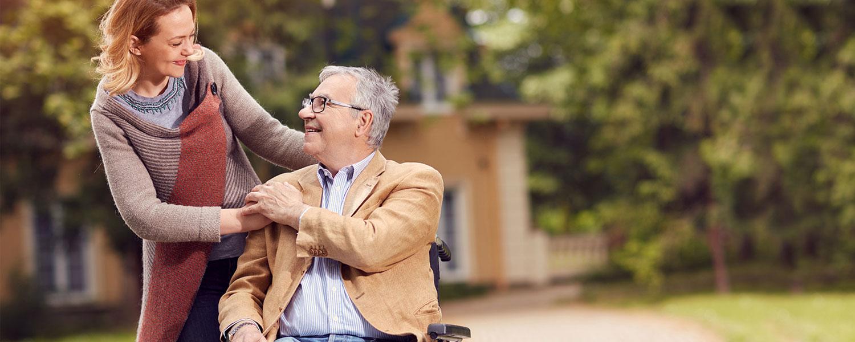Senior caregiver and senior citizen at Fort Hudson health system serving Saratoga, Glens Falls, and Queensbury NY